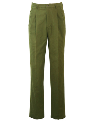 "Henry Cotton's Olive Green Pleat Front Trousers - 30"" - New"