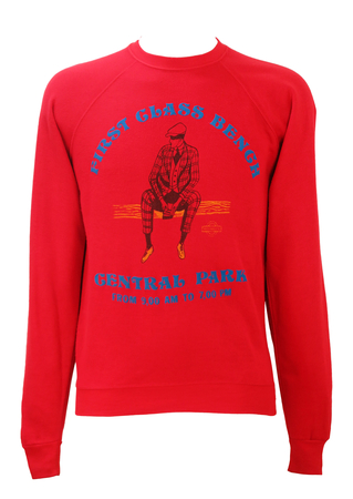 Red Sweatshirt with Central Park Man on Bench Imagery - S/M