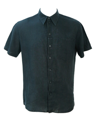 Armani Black Linen Short Sleeved Shirt - M