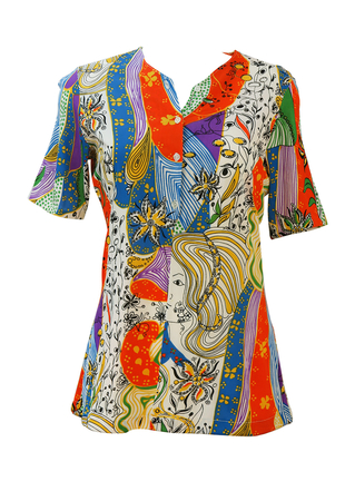 Vintage 70's Short Sleeved Psychedelic Top with Woman's Face - M