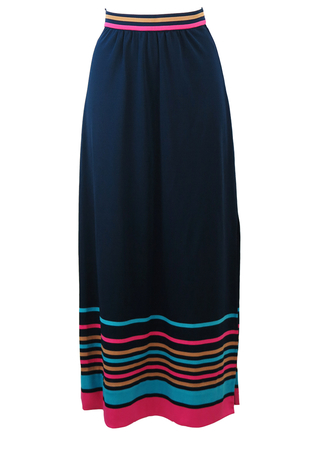 Vintage 70's Navy Blue Maxi Skirt with Blue, Beige & Pink Stripe Detail - S/M