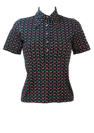 Vintage 60's Navy Blue Short Sleeved Top with Pink Floral Pattern - S
