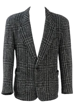 Grey, Black and White Tweed Wool Jacket - L