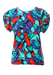 Vintage 80's Top with Multicoloured Abstract Faces & Adjustable Sleeves - S/M