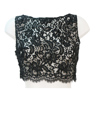 Vintage 60's Black Floral Lace Sleeveless Crop Top with Black Sequins - S