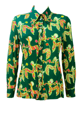 Vintage 70's Green Blouse with Psychedelic Poodles Pattern - M