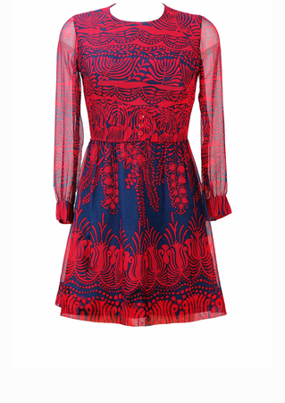 Vintage 60's Red & Blue Patterned Mini Dress with Semi Sheer Chiffon Sleeves - XS/S