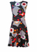 Vintage 70's Black & Grey Sleeveless Midi Dress with Multicoloured Geometric Floral Pattern - M/L