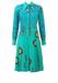 Vintage 70's Jade Long Sleeved Midi Shirt Dress with Blue, Orange, Purple & Yellow Batik Pattern - M/L