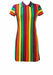 Vintage 60's Short Sleeved Mod Mini Shift Dress with Purple, Yellow, Orange & Green Stripes  - S