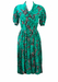 Vintage 80's Green Short Sleeved Midi Pleated Dress with Black & White Paisley Pattern - S/M