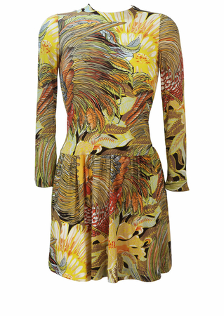 Vintage 70's Long Sleeved Mini Dress with Golden Brown Rooster Feathers & Leaves Pattern - S