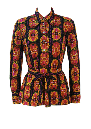 Vintage 60's Button Front Belted Tunic Top with Ochre, Purple & Black Ethnic Pattern - M