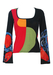 Black Custo Barcelona Top with Red, Olive & Orange Geometric Pattern & Bell Shaped Sleeves - S/M