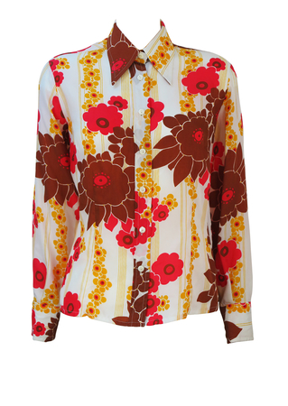Vintage 70's White Blouse with Bold Red, Brown & Yellow Floral Pattern - L/XL