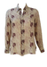100% Silk Beige Blouse with Burgundy Wading Birds Pattern - M