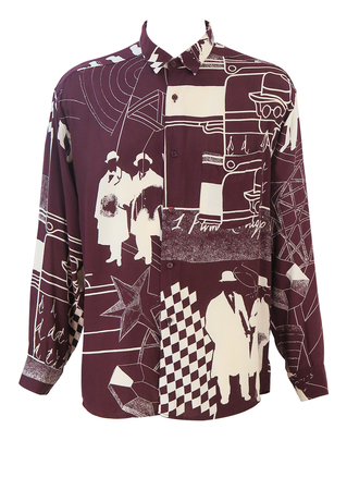 Vintage 90's Oversize Burgundy & Cream Shirt with Male Silhouettes & Abstract Imagery - XL/XXL