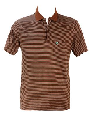 Vintage 80's Brown, Grey & White Striped Polo Shirt - M