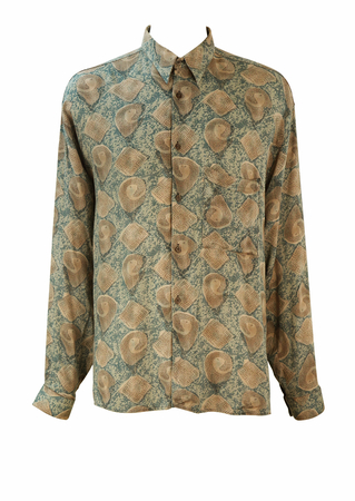 Vintage 90's Long Sleeved Shirt with Beige, Grey, Blue & Sage Abstract Pattern - L/XL