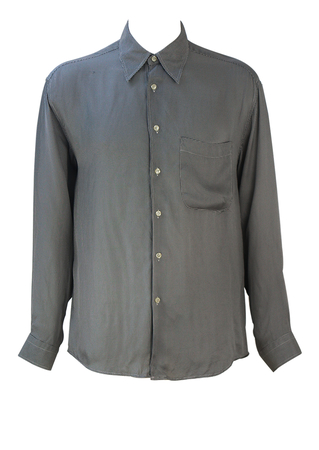 Long Sleeved Shirt with Black & White Mini Harlequin Pattern - L/XL