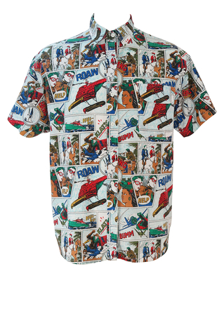 Short Sleeved Shirt with Comic Strip Pattern - 90's style L or XL