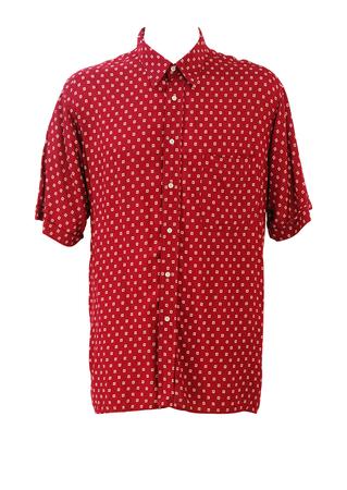 Burgundy Short Sleeved Shirt with Beige Square Motif Pattern - XL/XXL