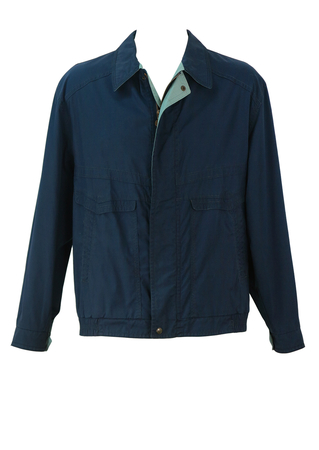 Reversible Jacket in Navy Blue and Sage Green Check - L/XL