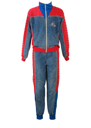 Vintage 90's Kappa Two piece Tracksuit in Red & Blue with Stonewashed Denim - M/L