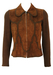 Vintage 60's Brown Suede & Wool Zip Front Jacket with Decorative Crochet Pattern - S