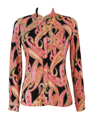 Vintage 70's Black Blouse with Brown, Pink & Cream Pyschedelic Paisley Pattern - M