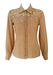 Beige Blouse with Russet Brown Floral Outline Pattern - M/L