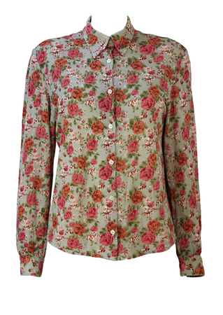 Sage Green Blouse with Pink, Green & Brown Rose Floral Pattern - L