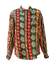Vintage 90's Oversized Silk Shirt with Green, Russet & Yellow Ethnic Pattern - M/L