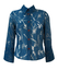 Teal Blue Blouse with Silvery Sheer Abstract Pattern & Large Cuff Detail - S/M