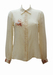 Cream Blouse with Floral & Leaf Motif Pattern - M