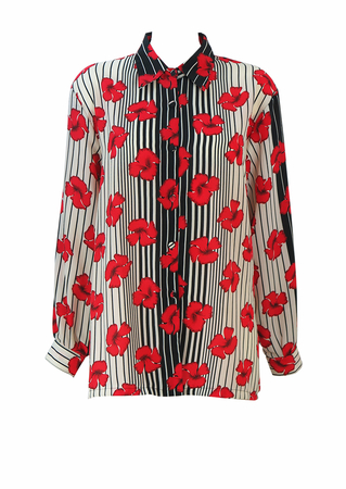 Black & Cream Striped Blouse with Red Floral Motif Pattern - L/XL