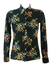 Vintage 60's Black Blouse with Yellow, Orange, Green & Blue Leaves Pattern - S/M