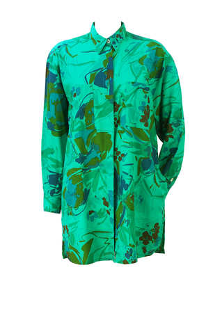 Green Overshirt with Brown, Ochre, Purple & Blue Floral Abstract Pattern - M/L