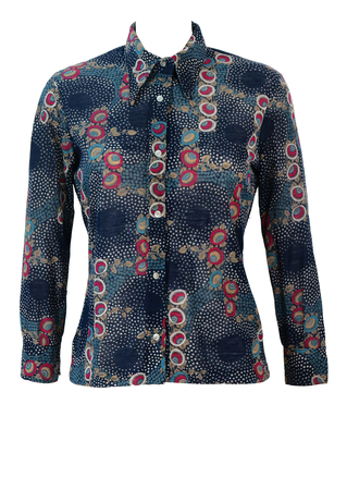 Vintage 60's Navy Blue Blouse with Pink, Blue, Beige & White Abstract Floral Pattern - M