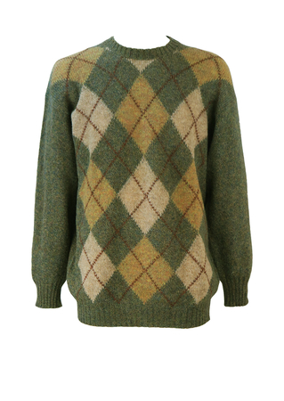 Scottish Pure Wool Knit Jumper with Mottled Green & Brown Argyle Pattern - L/XL