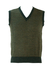 V-Neck Knit Tank Top with Green & Brown Geometric Check-Like Pattern - S/M