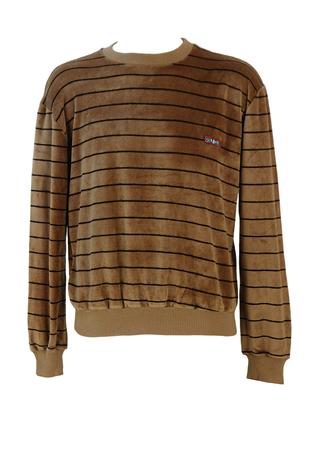 Vintage 80's Camel and Black Striped Velour Jumper - M