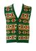 Chunky Sleeveless Knit Cardigan with Green, Ochre & Orange Aztec Pattern - S/M