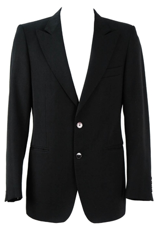 Black Fitted Jacket with Peak Lapel - M