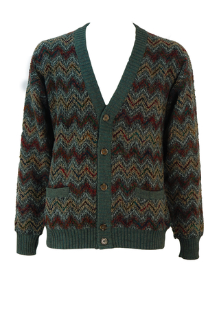 Woollen Cardigan with Pockets and Burgundy, Camel, Green & Grey Zig Zag Pattern - M/L