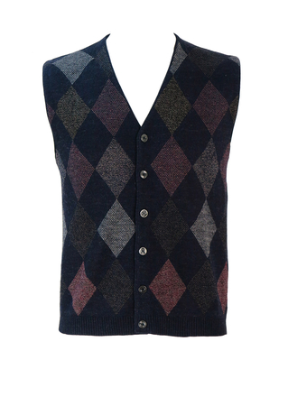 Navy Blue Marl Knit Waistcoat with Burgundy & Grey Argyle Pattern - M