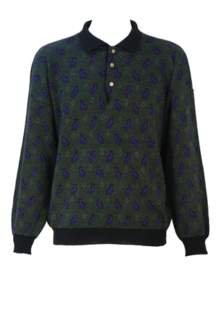 Olive Green & Black Button Neck Jumper with Purple Paisley Pattern - L