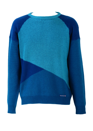 Colmar Round Neck Jumper with Multi Blue Tone Asymmetric Pattern - M/L