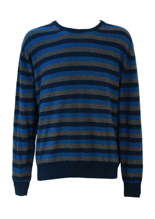 Kappa Round Neck Lambswool Jumper with Blue & Grey Stripes - L/XL