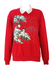 Red Christmas Sweatshirt with Birds & Snowflakes Imagery & White Collar Detail - M/L